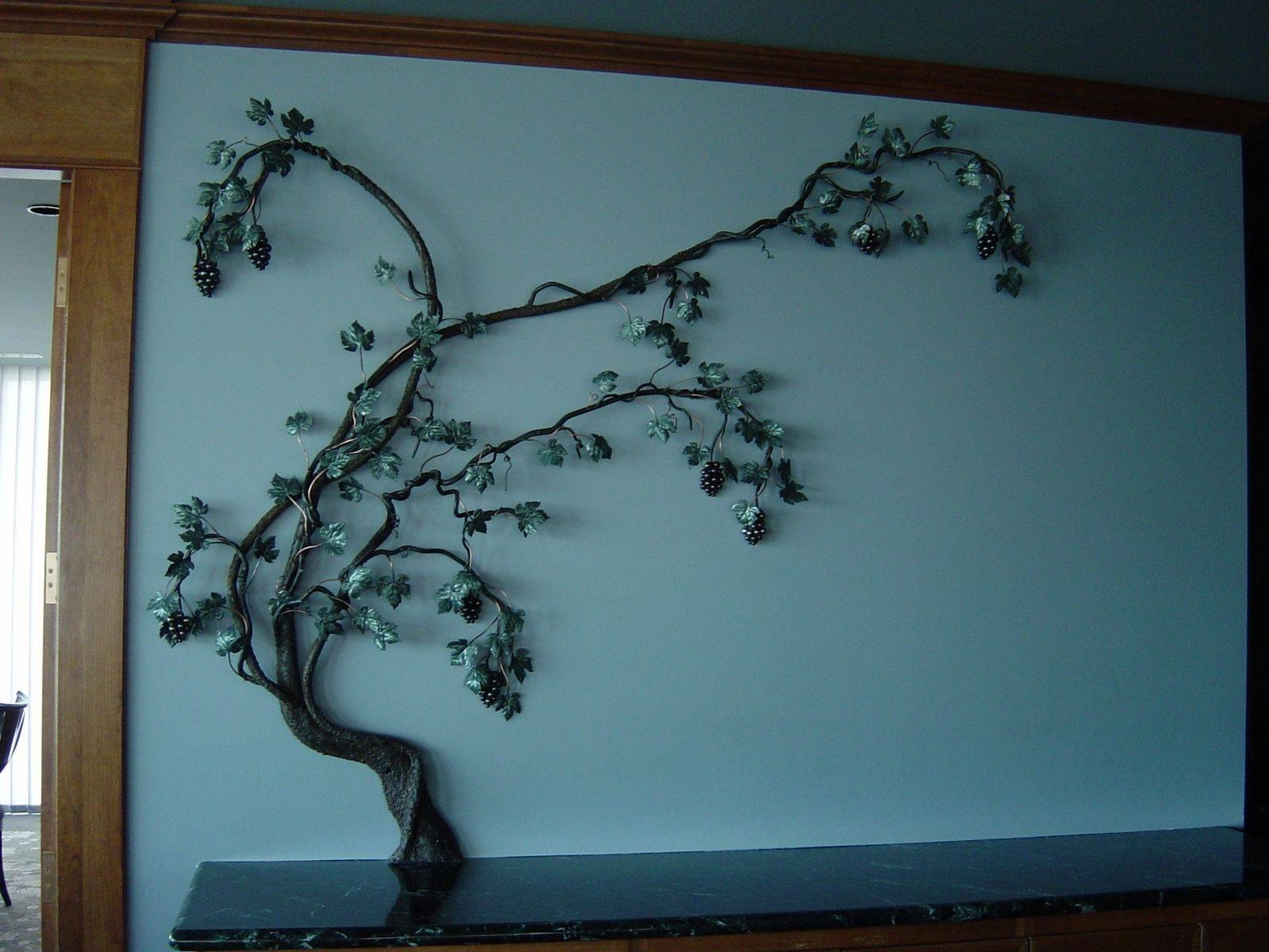 Hand Crafted Steel Grape Vine Wall Sculpturereflections From Regarding Newest Grape Wall Art (View 14 of 22)