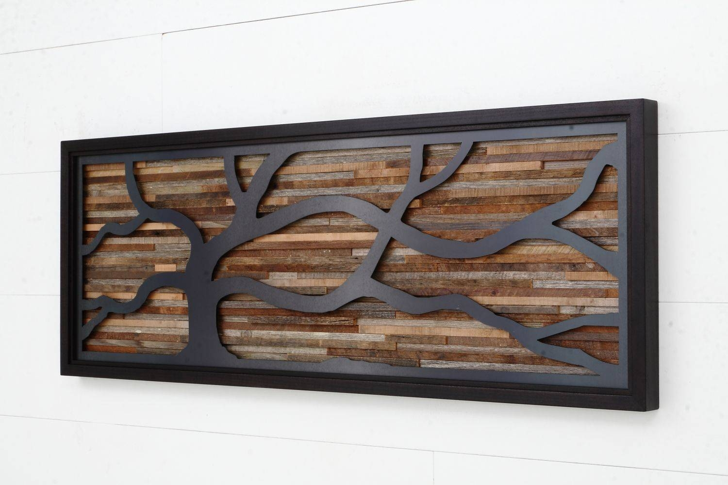 Hand Crafted Wood Wall Art Made Of Old Barnwood And Natural Black Throughout Newest Natural Wood Wall Art (Gallery 2 of 20)