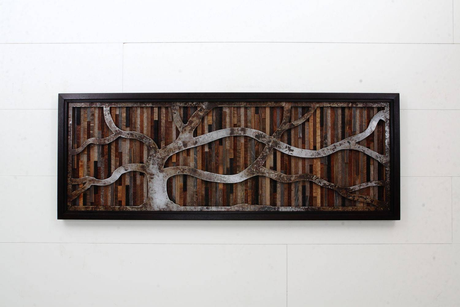 Hand Crafted Wood Wall Art Made Of Old Barnwood And Natural Steel With Regard To Most Recent Natural Wood Wall Art (View 8 of 20)