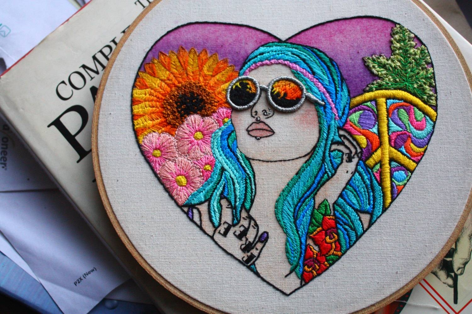 Hand Embroidered Tattooed Hippy Chick Wall Art Embroidery Hoop For Newest Tattoos Wall Art (View 7 of 20)