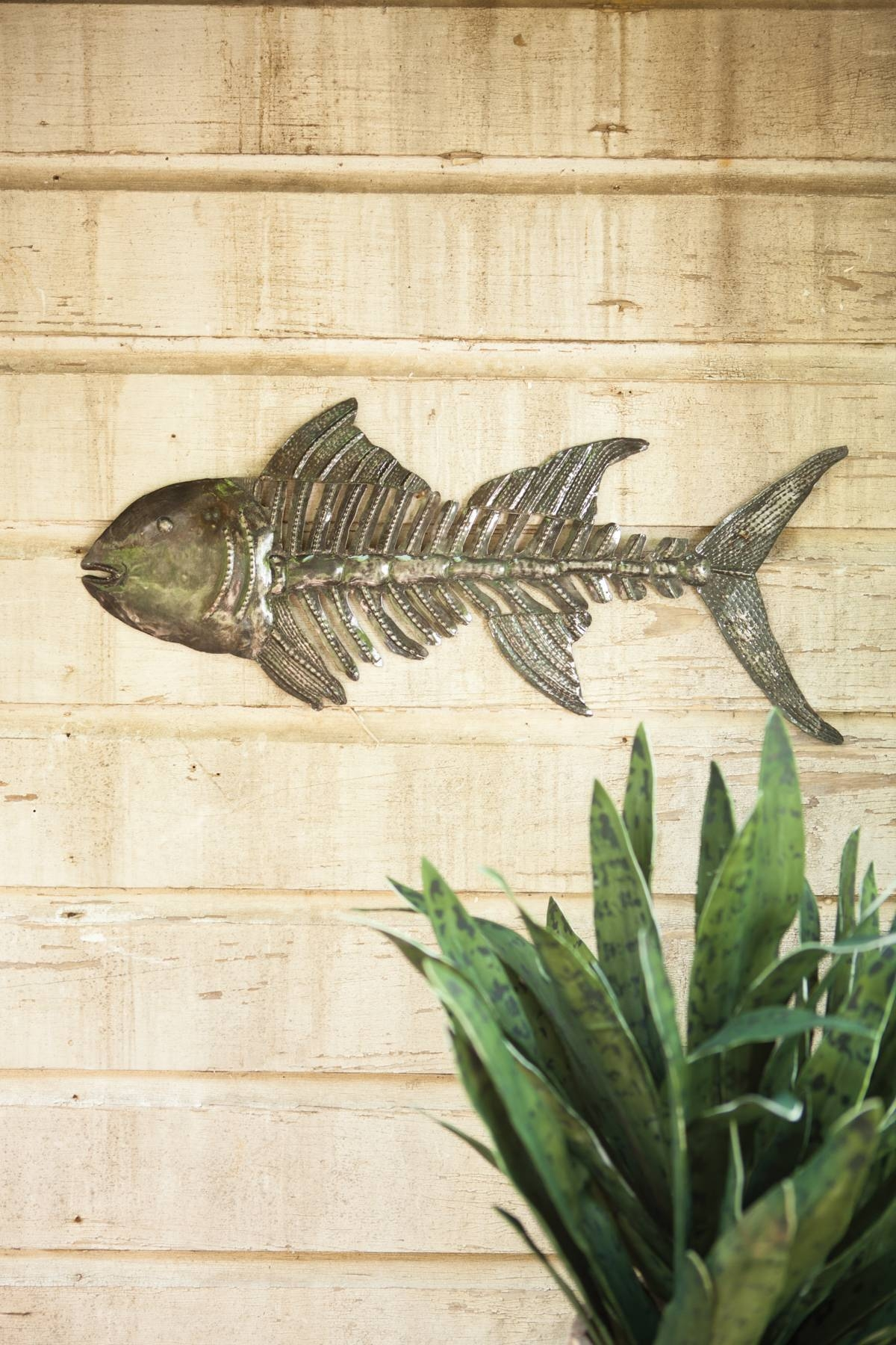 Hand Hammered Metal Fish Skull Wall Hanging At Seasideinspired For Latest Hammered Metal Wall Art (View 11 of 20)