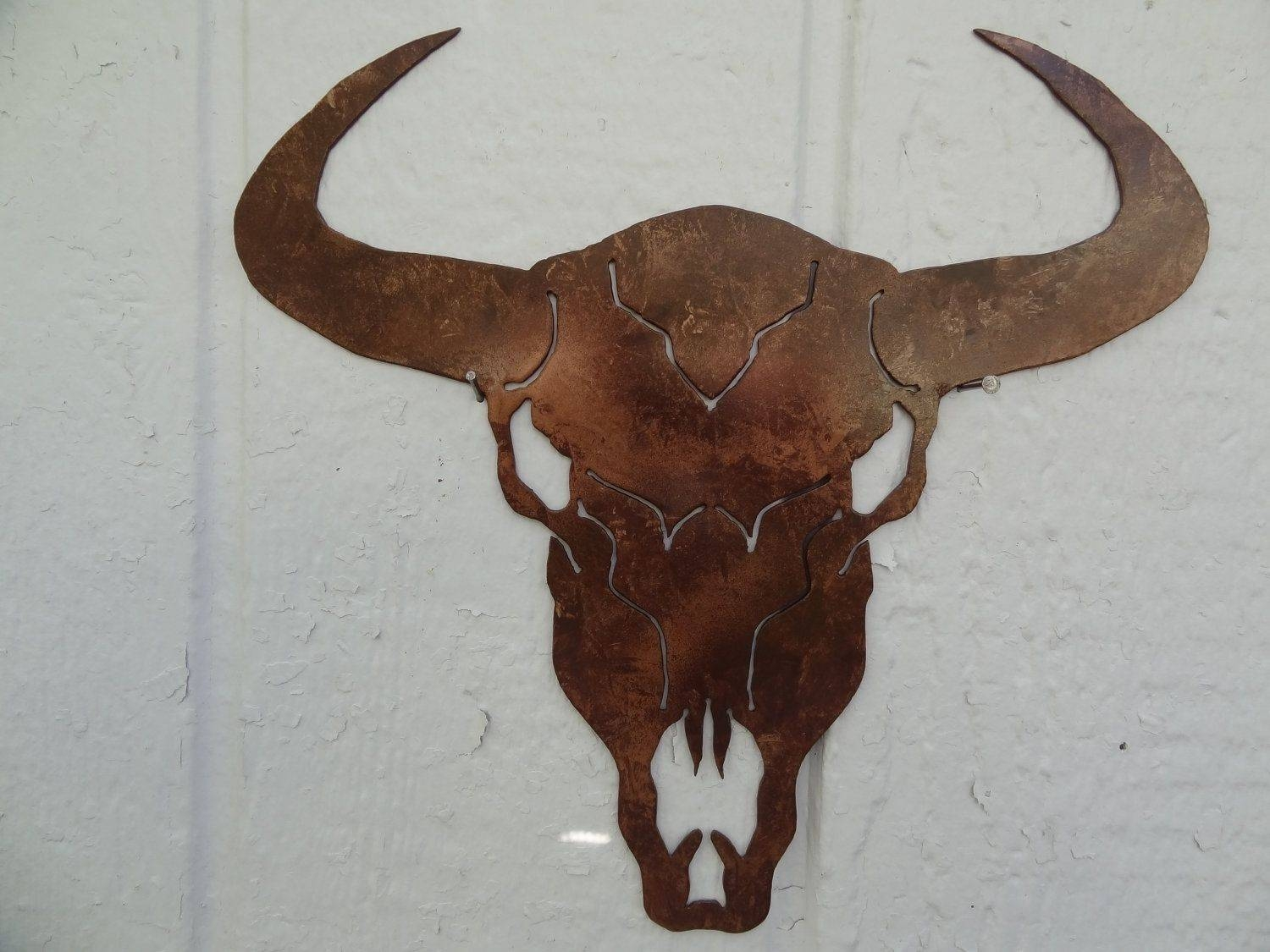 "Hand Made Cow Skull Solid Metal Wall Art 25"" W X 25""l Antique Throughout Newest Country Metal Wall Art (View 14 of 30)"