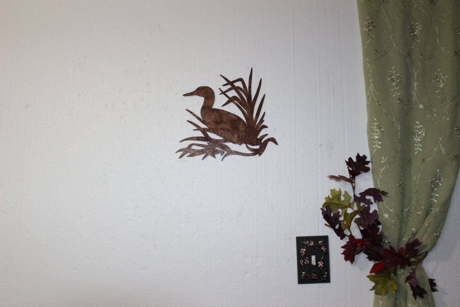 Hand Made Duck In Reeds On Sawblade Metal Wall Art Country Rustic With Regard To Latest Country Metal Wall Art (View 15 of 30)