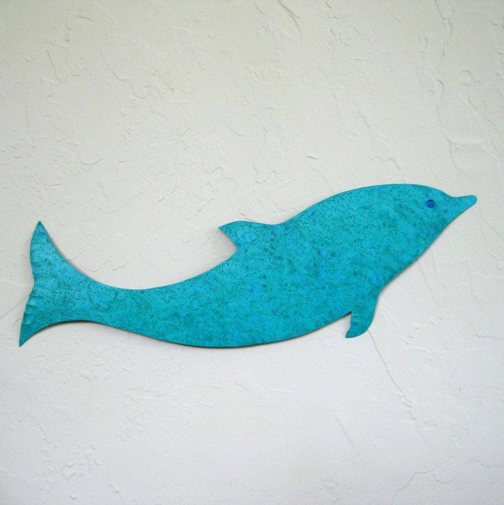 Hand Made Handmade Upcycled Metal Dolphin In Turquoise Blue Wall Intended For Best And Newest Dolphin Metal Wall Art (View 17 of 25)