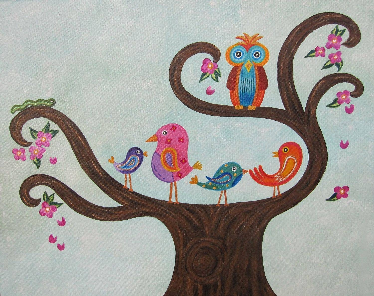 Hand Made Owl & Birds Personalized Custom Nursery Art / Custom Intended For 2017 Childrens Wall Art Canvas (View 10 of 20)