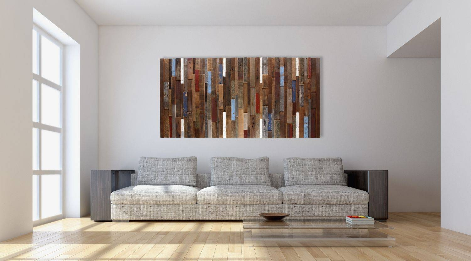 Hand Made Wood Wall Art Made Of Old Reclaimed Barnwood, Different With Regard To Recent Sofa Size Wall Art (View 13 of 20)