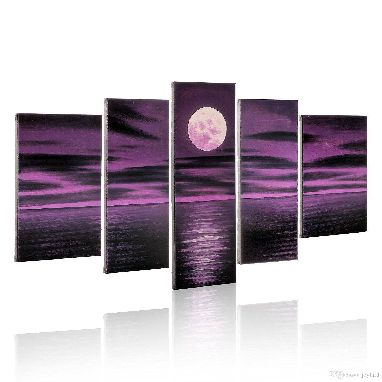 Hand Paint Seascape Painting 5 Panel Bright Full Moon Purple Regarding Recent Purple Canvas Wall Art (View 5 of 20)