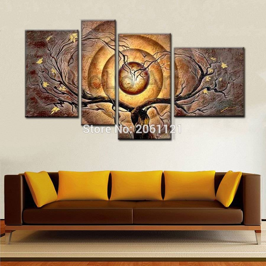 Hand Painted Abstract Oil Canvas Painting Set Modern 4 Piece Wall Throughout 2017 4 Piece Wall Art (View 9 of 15)