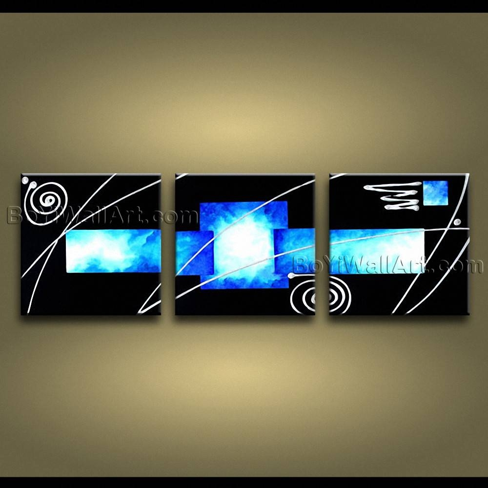 Hand Painted Abstract Painting On Canvas Sky Blue Black 3 Pieces Regarding 2018 3 Piece Wall Art (View 14 of 30)