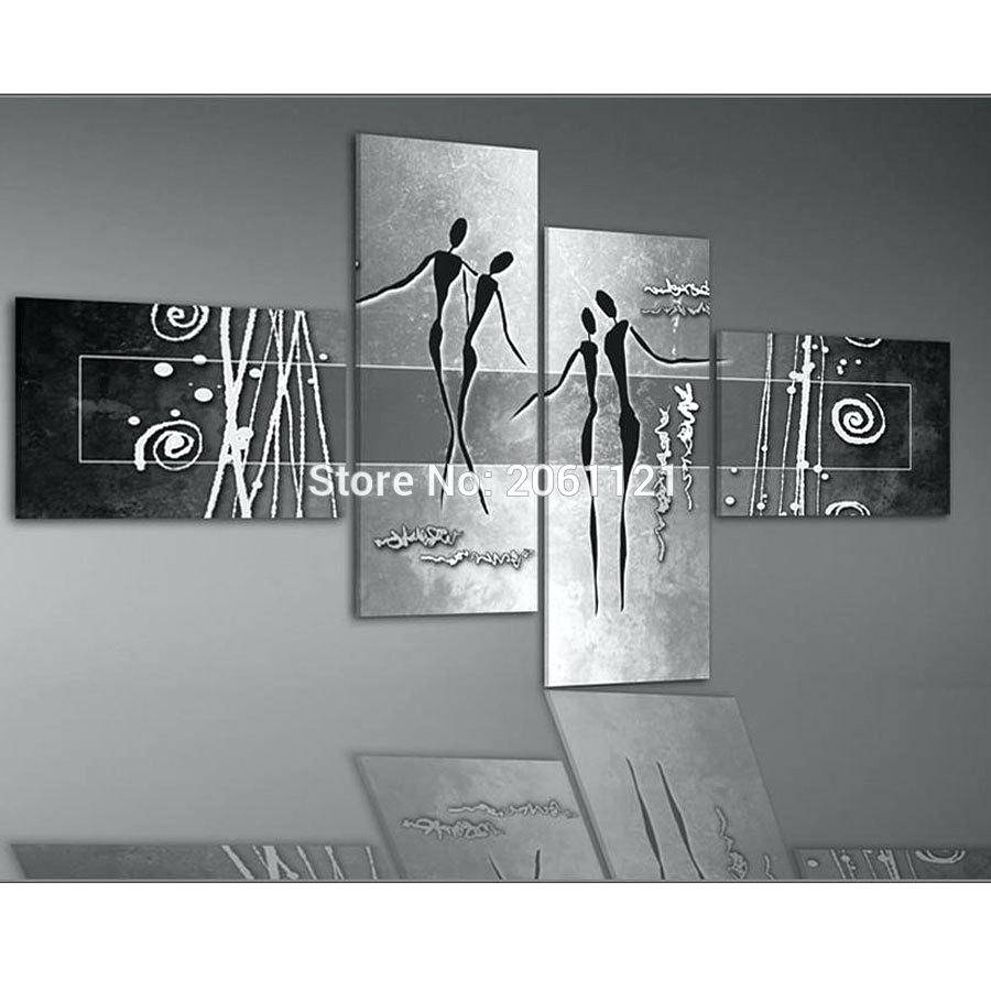 Hand Painted Modern Abstract Home Decoration Wall Art 4 Piece Set Inside Most Up To Date Black And White Wall Art Sets (View 1 of 20)