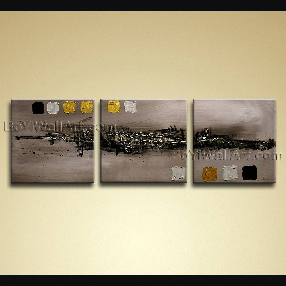 Hand Painted Modern Abstract Painting On Canvas Wall Art 3 Panels Intended For Recent Abstract Canvas Wall Art (View 12 of 20)