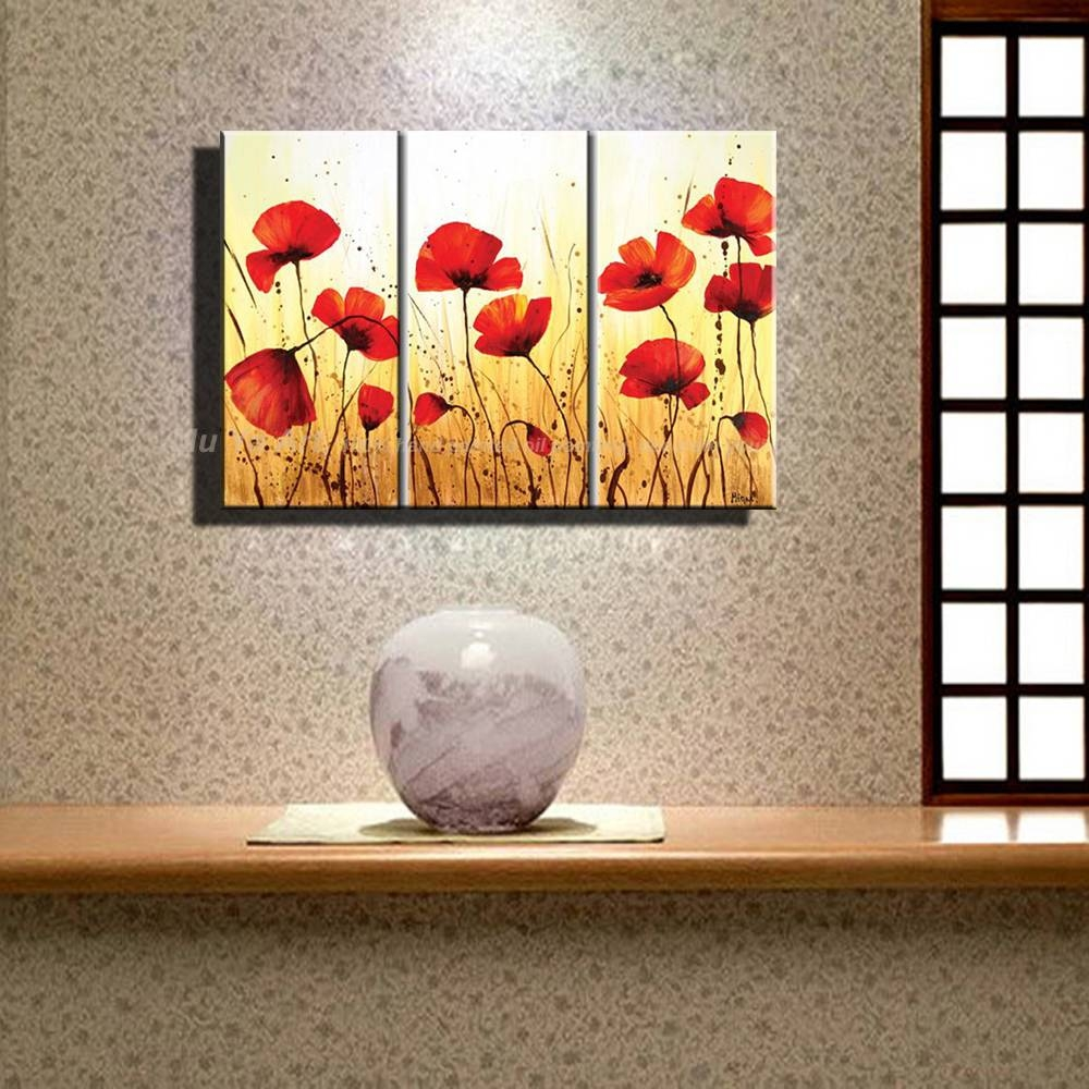 Hand Painted Modern Wall Decor Painting 3 Piece Canvas Wall Art With Regard To Current Red Poppy Canvas Wall Art (Gallery 20 of 20)