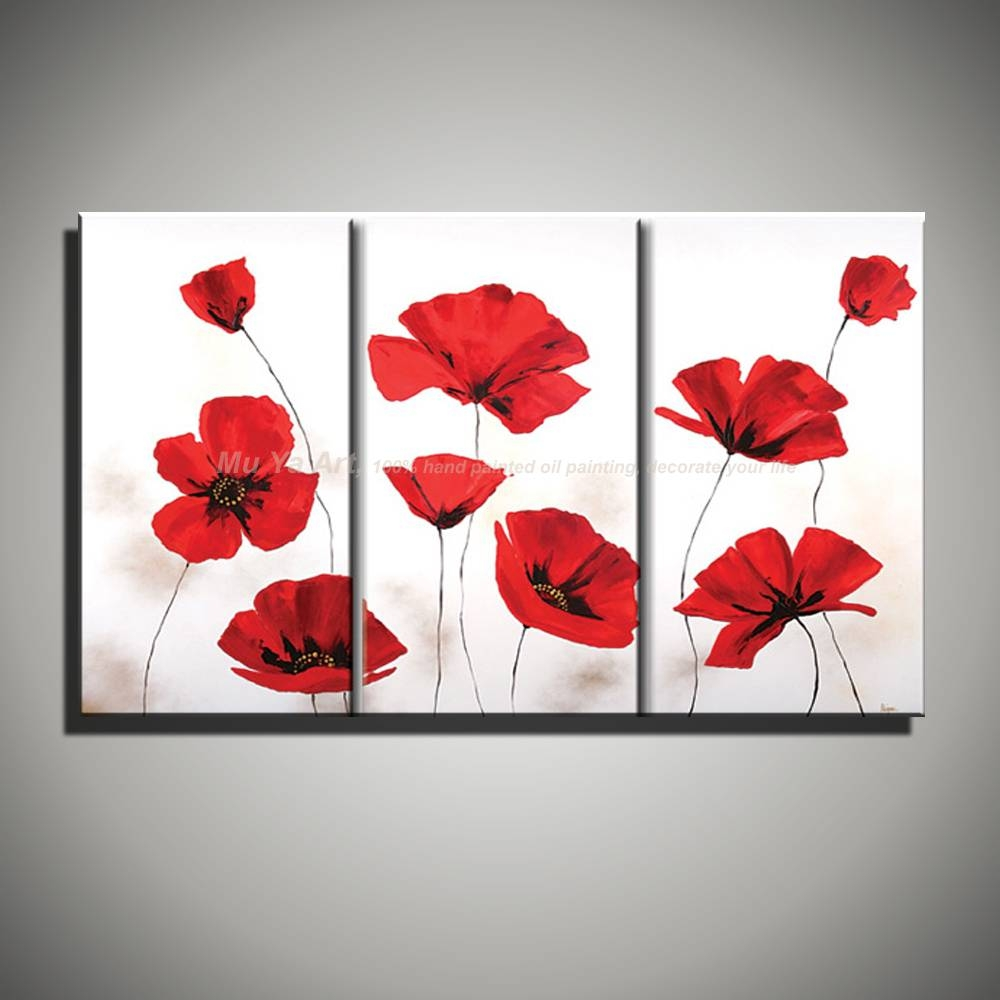 Hand Painted Modern Wall Decor Painting 3 Piece Canvas Wall Art With Regard To Recent Red Poppy Canvas Wall Art (View 10 of 20)