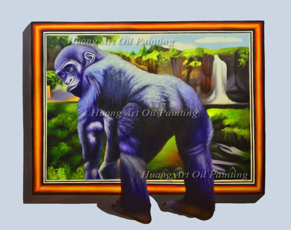 Hand Painted New Realistic 3d Oil Painting Animals Painting On Pertaining To Most Popular Animals 3d Wall Art (View 13 of 20)