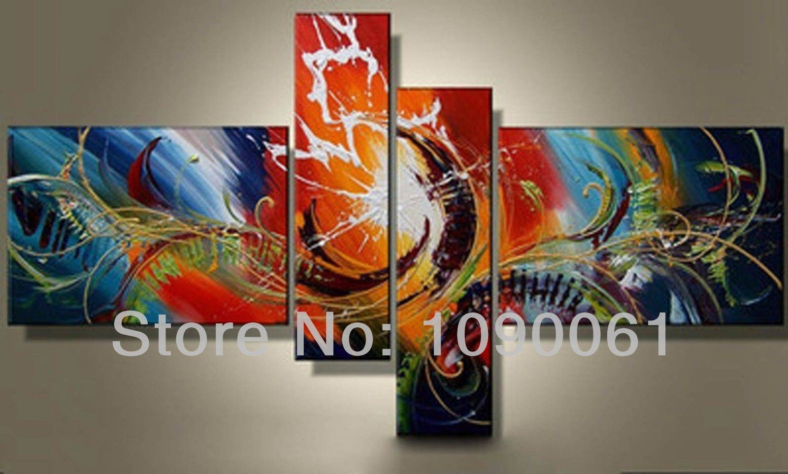 Hand Painted Oil Wall Art Abstract Paintings Modern 4 Piece Pertaining To 2017 4 Piece Canvas Art Sets (View 8 of 25)