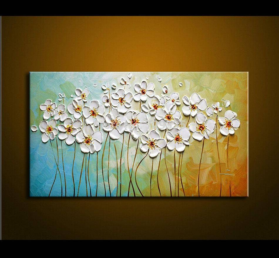 Hand Painted Textured Palette Knife White Flowers Oil Painting Pertaining To Most Popular Oil Painting Wall Art On Canvas (View 13 of 20)
