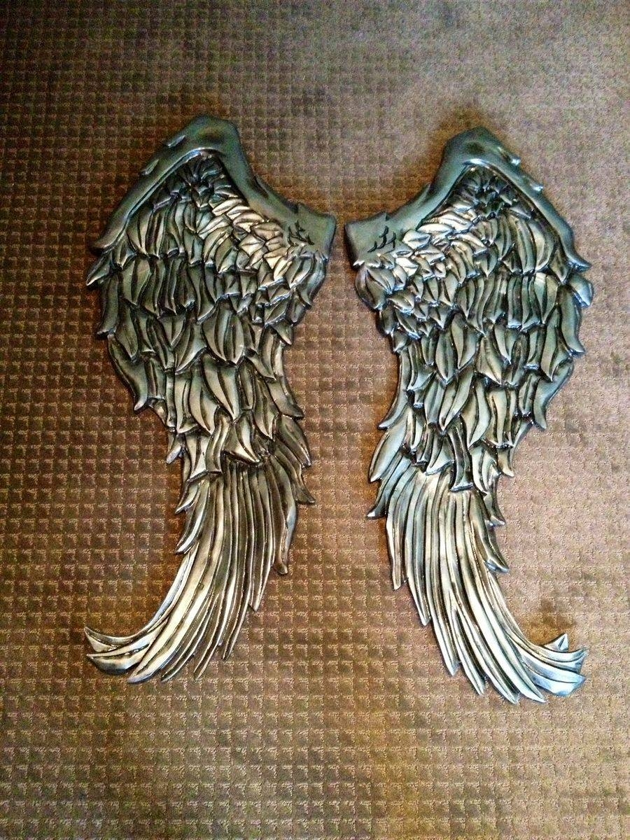 Handmade Angel Wings Wall Decor Wood Carvingnevermore With Most Up To Date Angel  Wings Wall Art