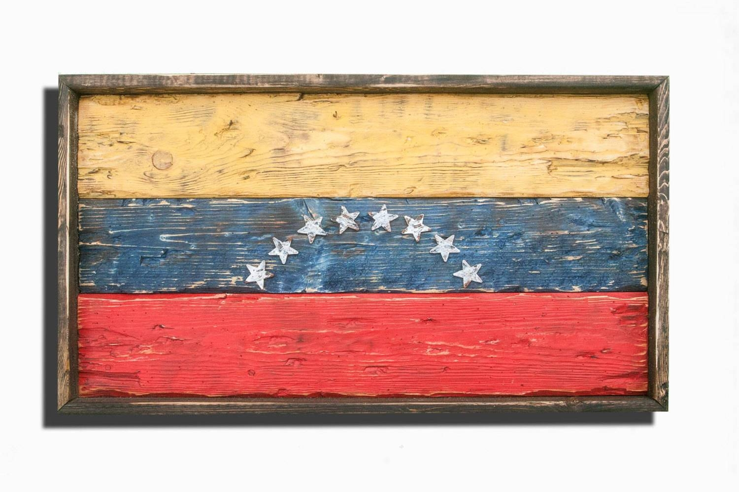 Handmade, Distressed Wooden Venezuela Flag, Vintage, Distressed With Newest Recycled Wall Art (View 15 of 30)