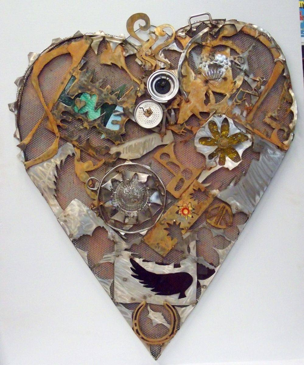 Handmade Home Decor, Sign, Recycled Art, Heart Wall Artjunk A Regarding Best And Newest Recycled Wall Art (View 12 of 30)
