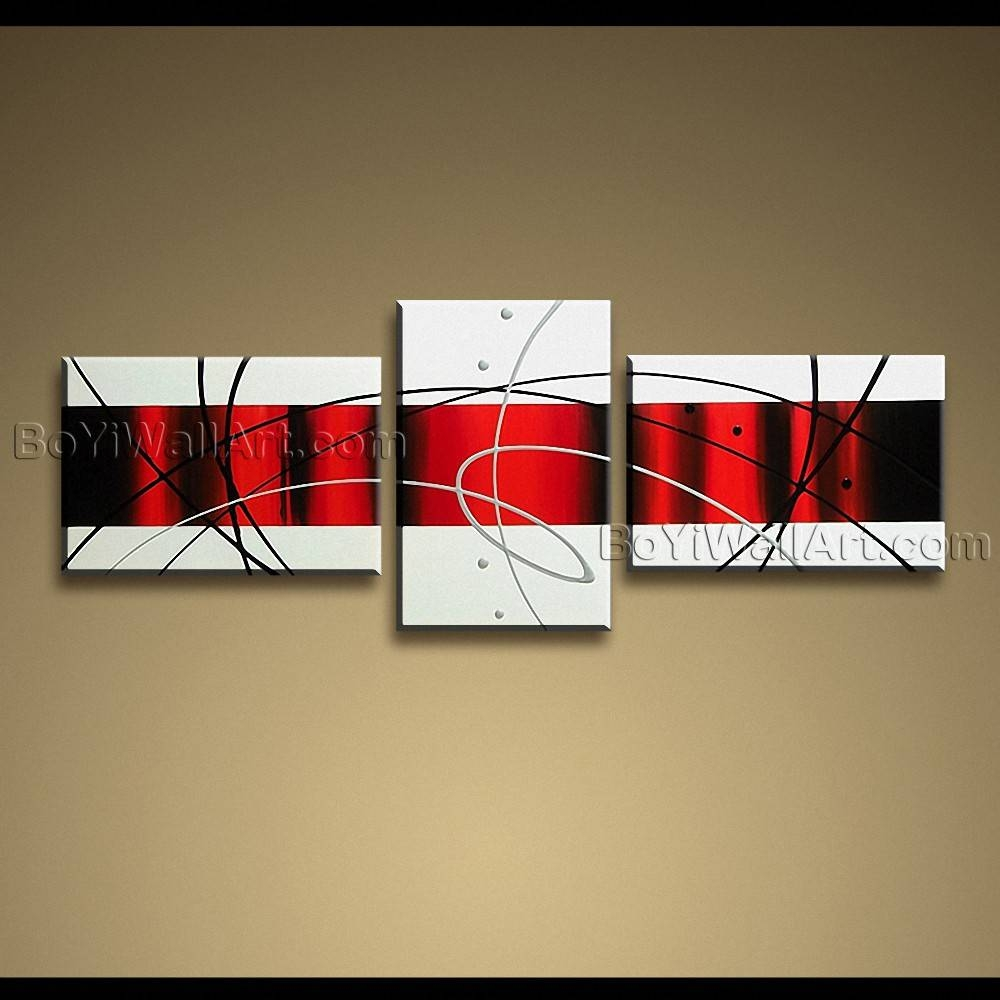Handmade Painting On Canvas Red White Black Abstract Modern Wall Art With Regard To Newest Black And White Wall Art With Red (View 4 of 25)