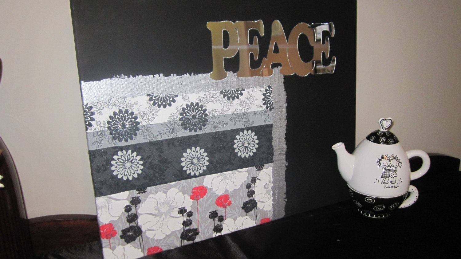 Handmade Peace And Love Wall Art Napkins Decoupage On Canvas 20 Intended For 2017 Decoupage Wall Art (View 13 of 30)