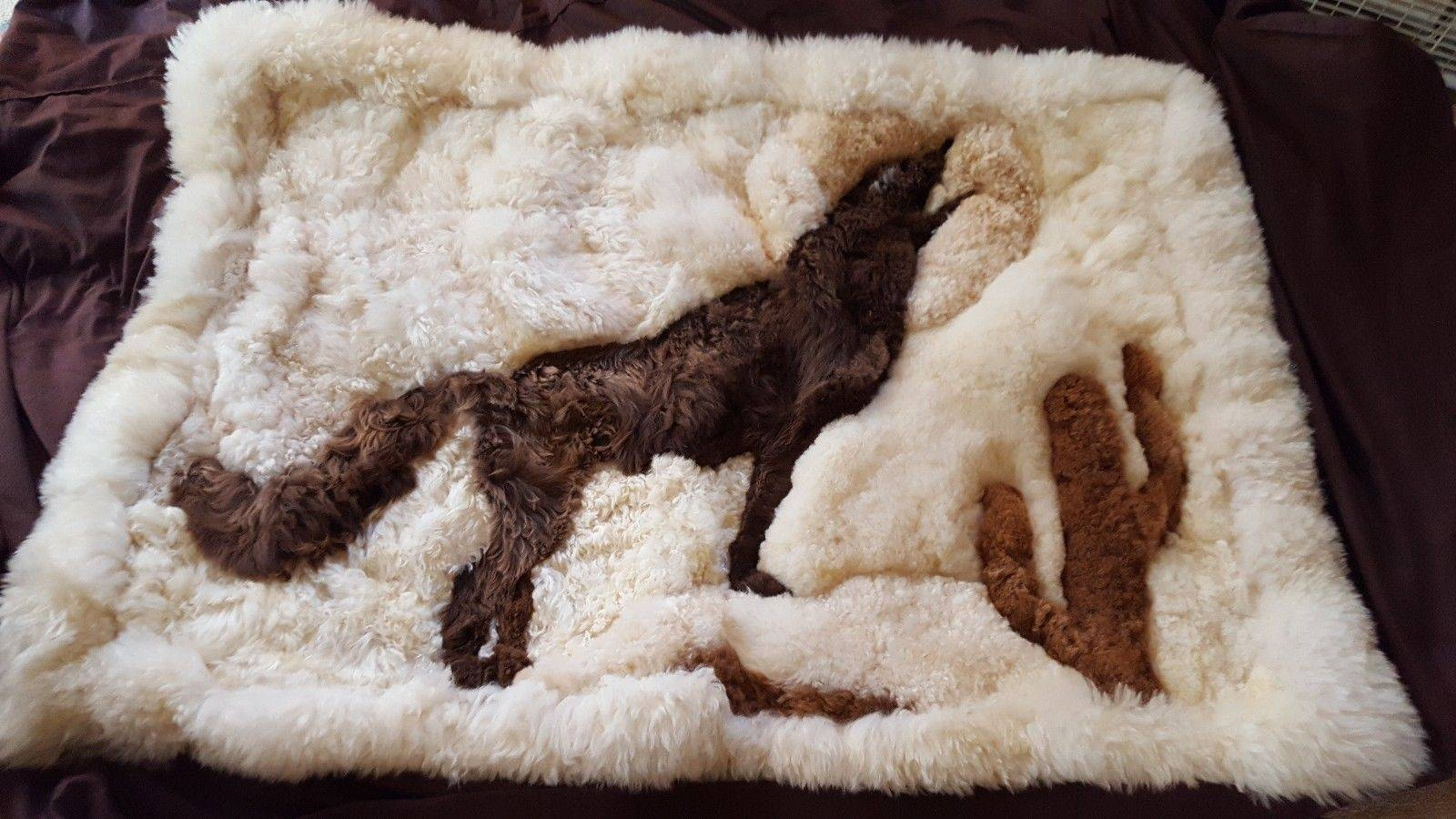 Handmade Peruvian Alpaca Fur Rug Wall Art Howling Coyote Wolf Full Intended For Most Up To Date Peruvian Wall Art (View 14 of 30)