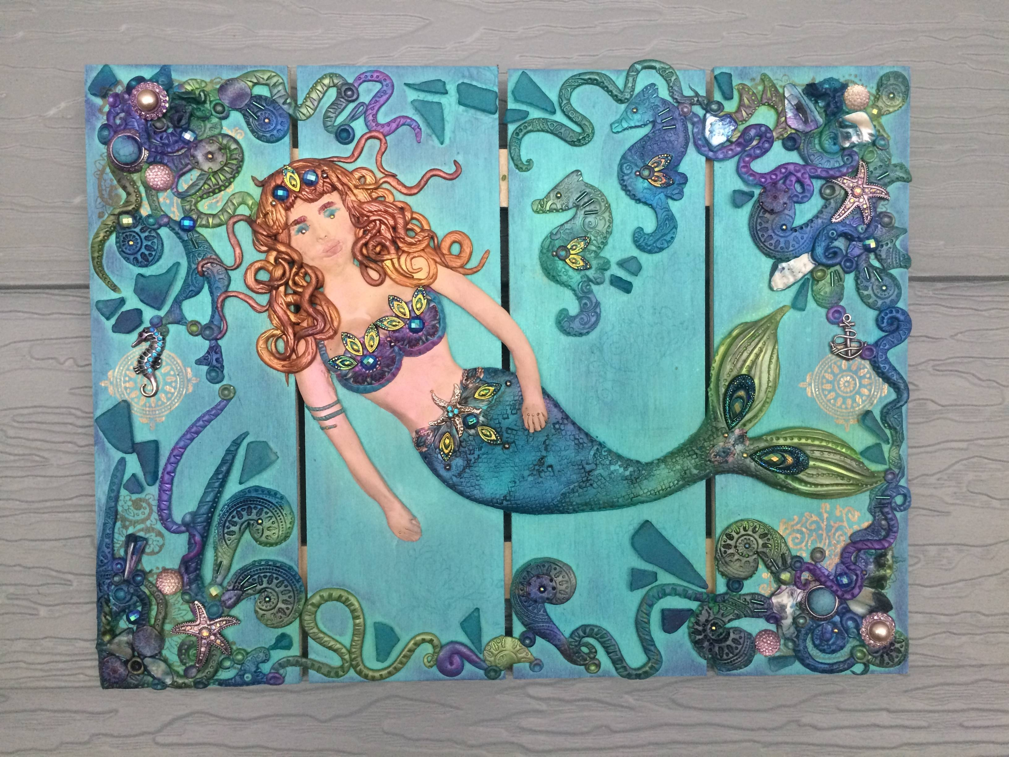 Handmade Polymer Clay Hanging Mermaid Wall Plaque | The Clay Monet Within Best And Newest Polymer Clay Wall Art (View 7 of 20)