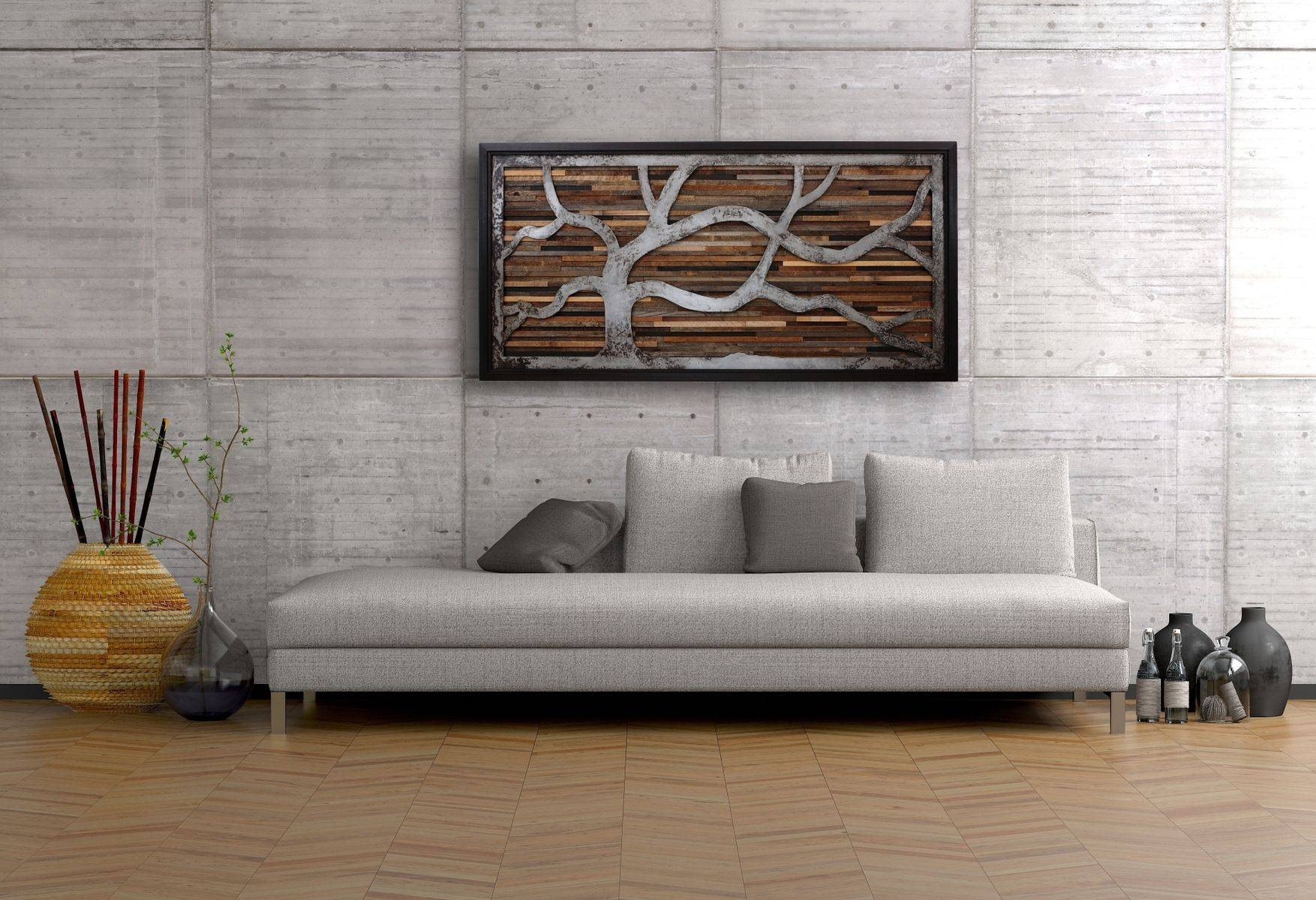 Handmade Reclaimed Wood Wall Art Made Of Old Barnwood And Rustic With Regard To Most Recently Released Wall Art On Wood (View 6 of 20)