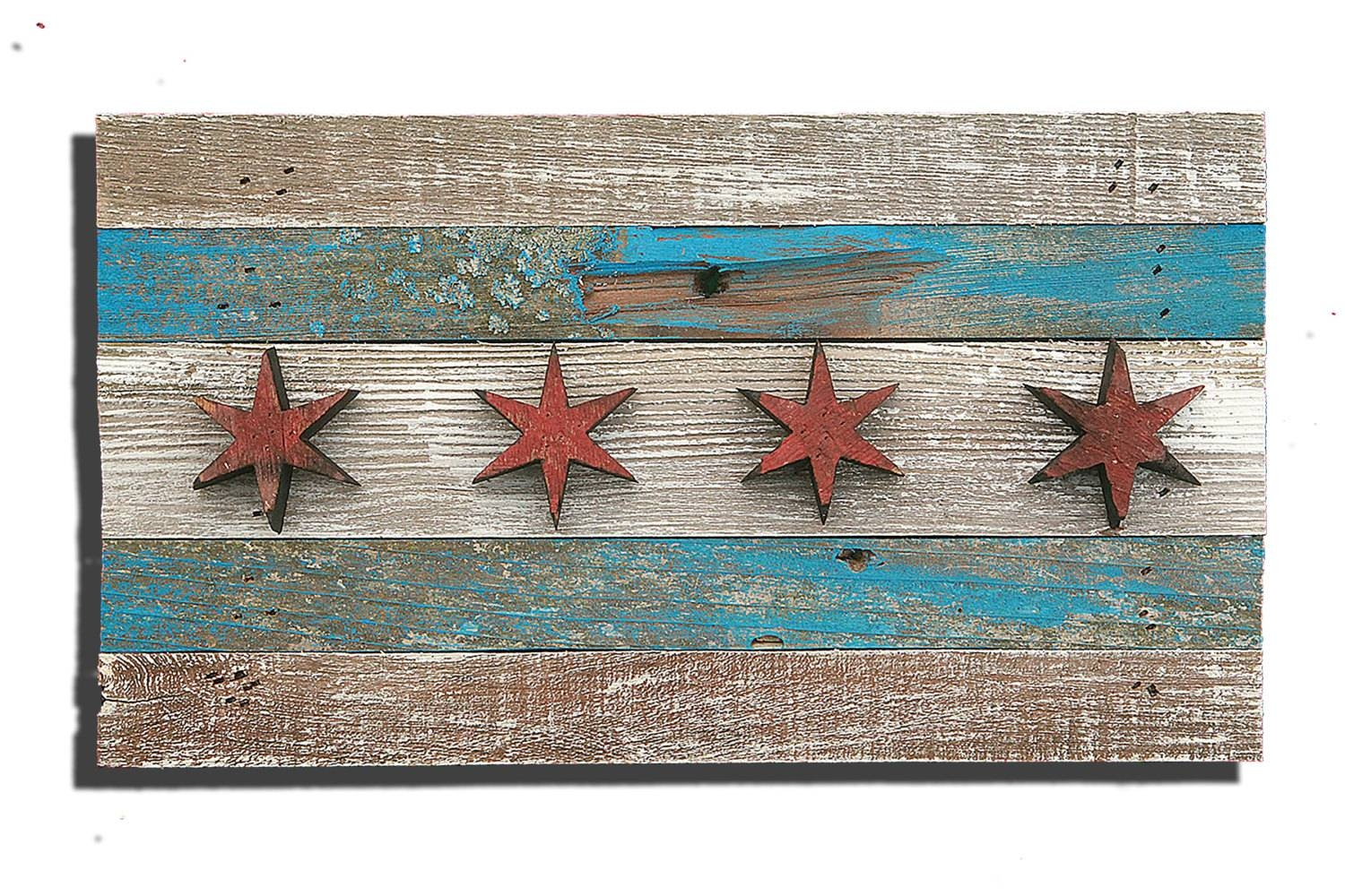 Handmade, Reclaimed Wooden Chicago Flag, Vintage, Art, Distressed Intended For Current Recycled Wall Art (View 15 of 30)