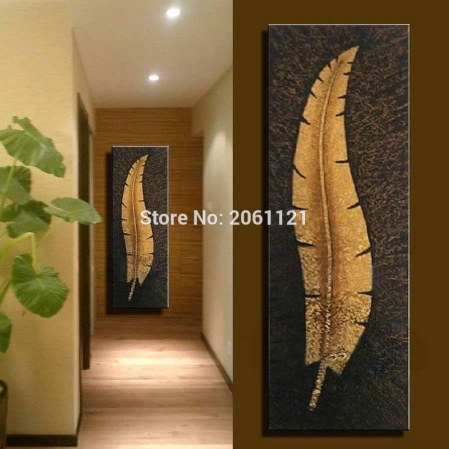 Handmade Vertical Wall Canvas Art Large Modern Living Room Aisle Regarding Most Popular Long Vertical Wall Art (View 9 of 20)