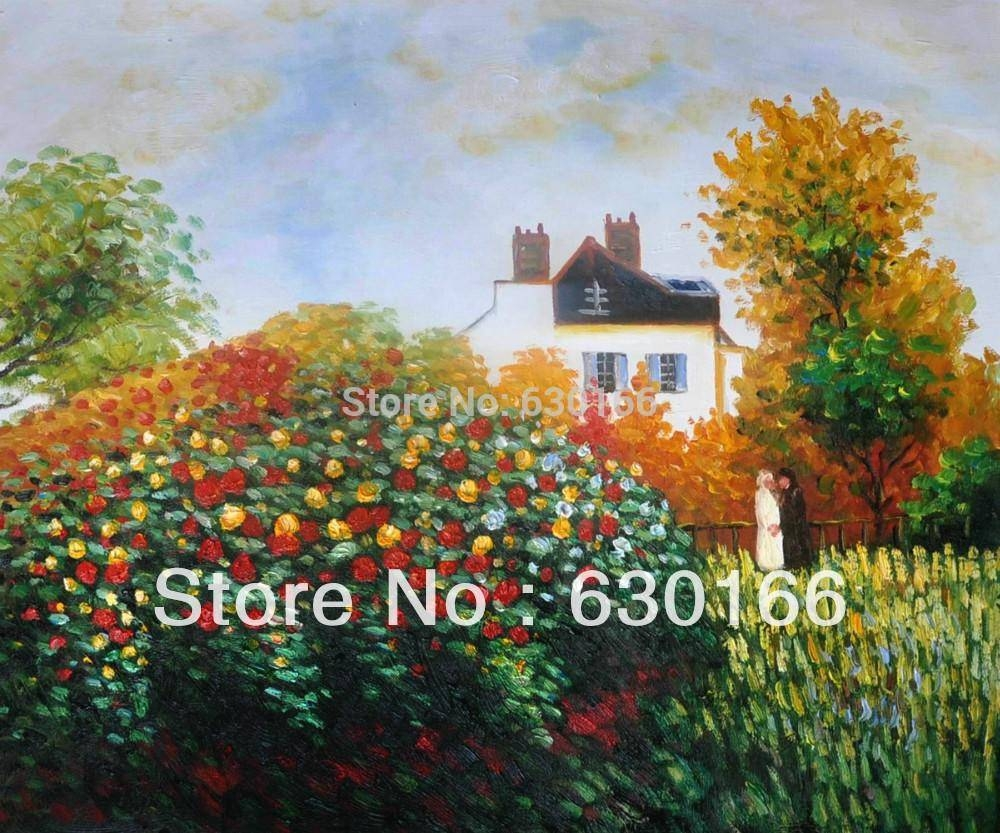 Handpainted Oil Canvas Wall Art Artist's Gardenclaude Monet Pertaining To 2017 Horizontal Canvas Wall Art (View 18 of 20)