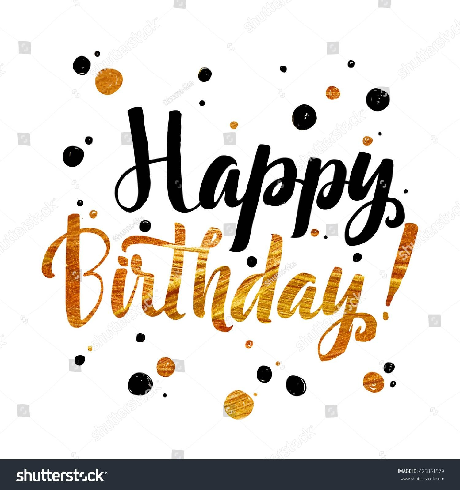 Happy Birthday Gold Foil Calligraphic Message Stock Vector Pertaining To Most Popular Happy Birthday Wall Art (View 9 of 20)
