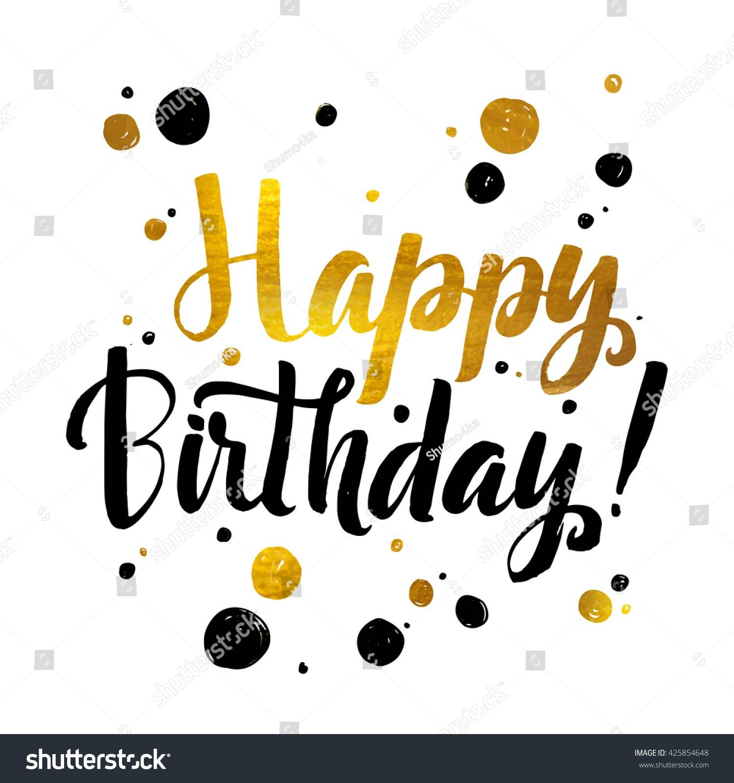 Happy Birthday Gold Foil Calligraphic Message Stock Vector Regarding Best And Newest Happy Birthday Wall Art (View 11 of 20)