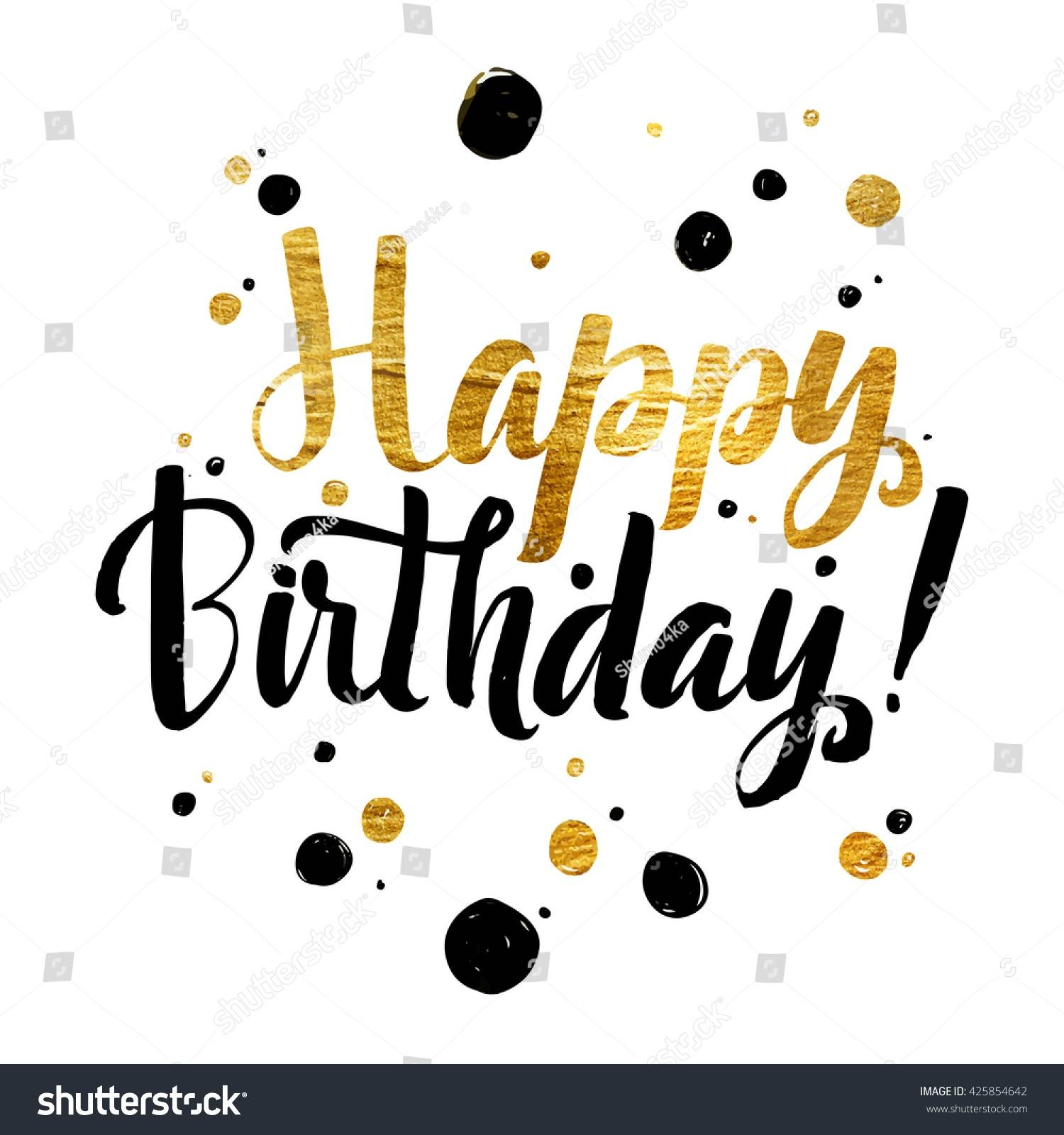 Happy Birthday Gold Foil Calligraphic Message Stock Vector With Regard To Most Recently Released Happy Birthday Wall Art (View 12 of 20)