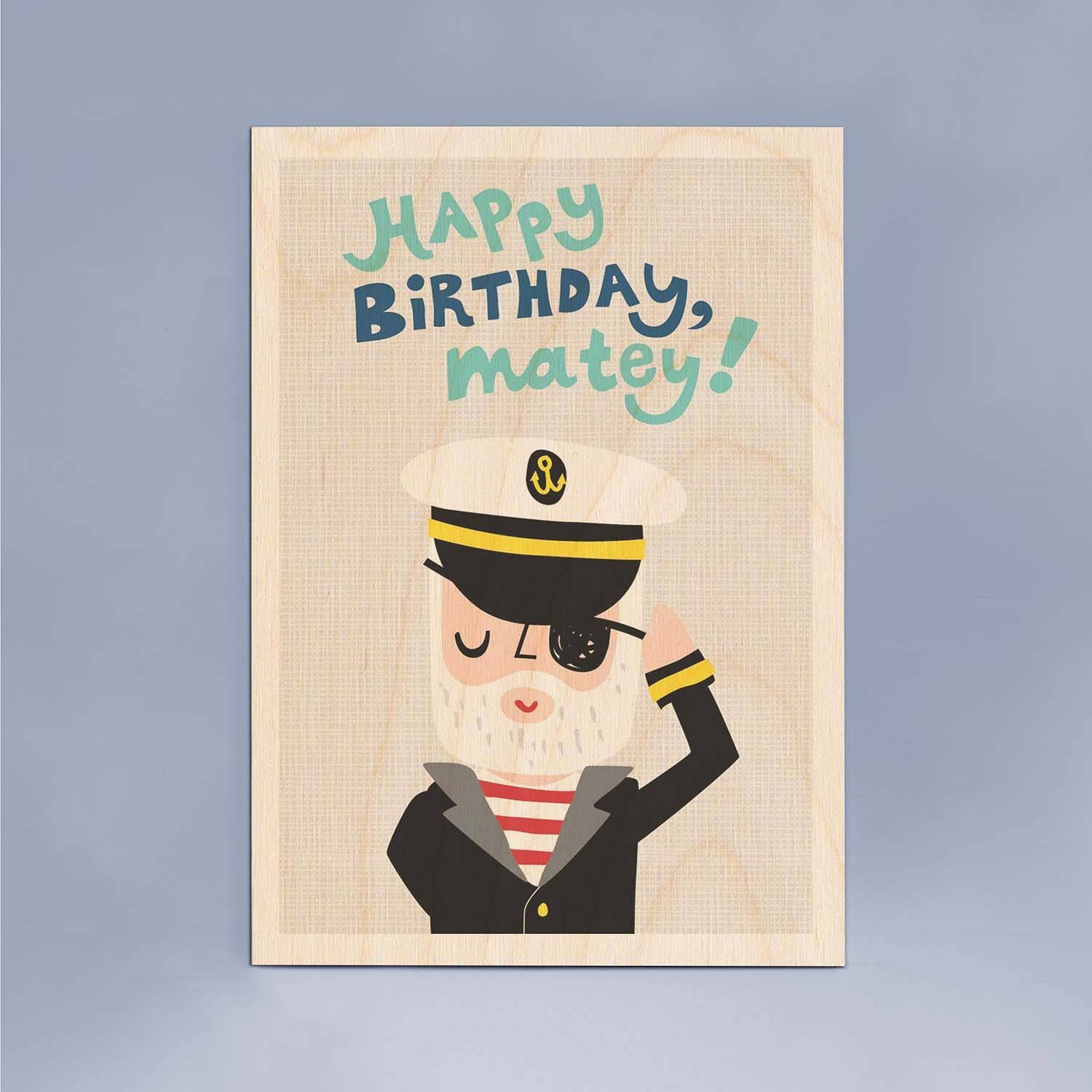 Happy Birthday Matey Wooden Timbergram Wall Art – Wooden Postcards With Regard To Latest Happy Birthday Wall Art (View 7 of 20)