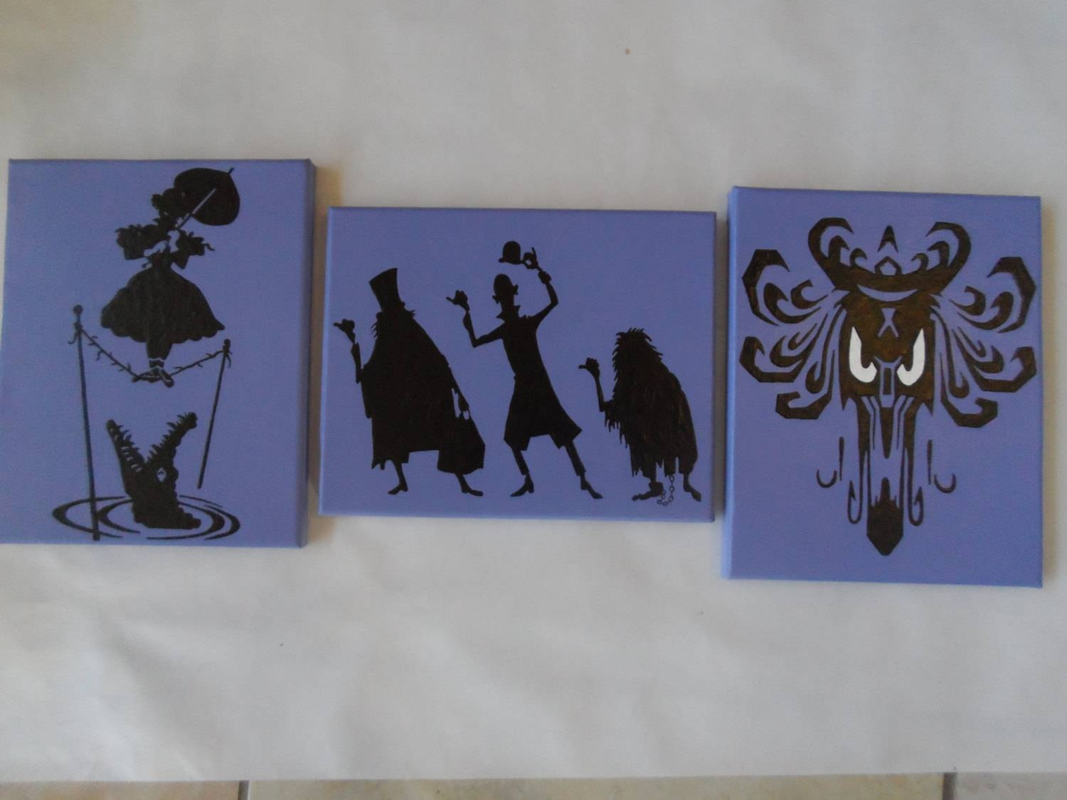 Haunted Mansion Hand Painted Canvas / Wall Art / Set Of 3 Intended For Most Popular Disney Canvas Wall Art (View 14 of 20)