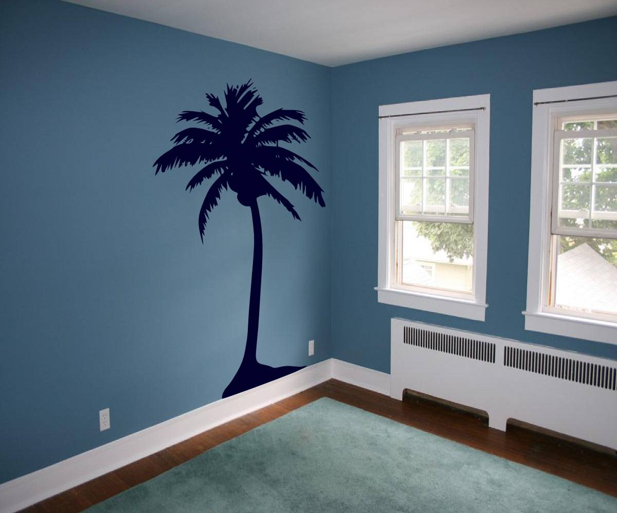 Hawaiian Coconut Palm Tree Vinyl Wall Art Removable Decals Within Newest Hawaiian Wall Art (View 8 of 20)