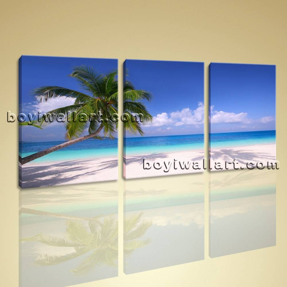 Hd Canvas Print 3 Piece Framed Beach Landscape Wall Art Palm Tree Within Latest 3 Piece Beach Wall Art (View 17 of 30)