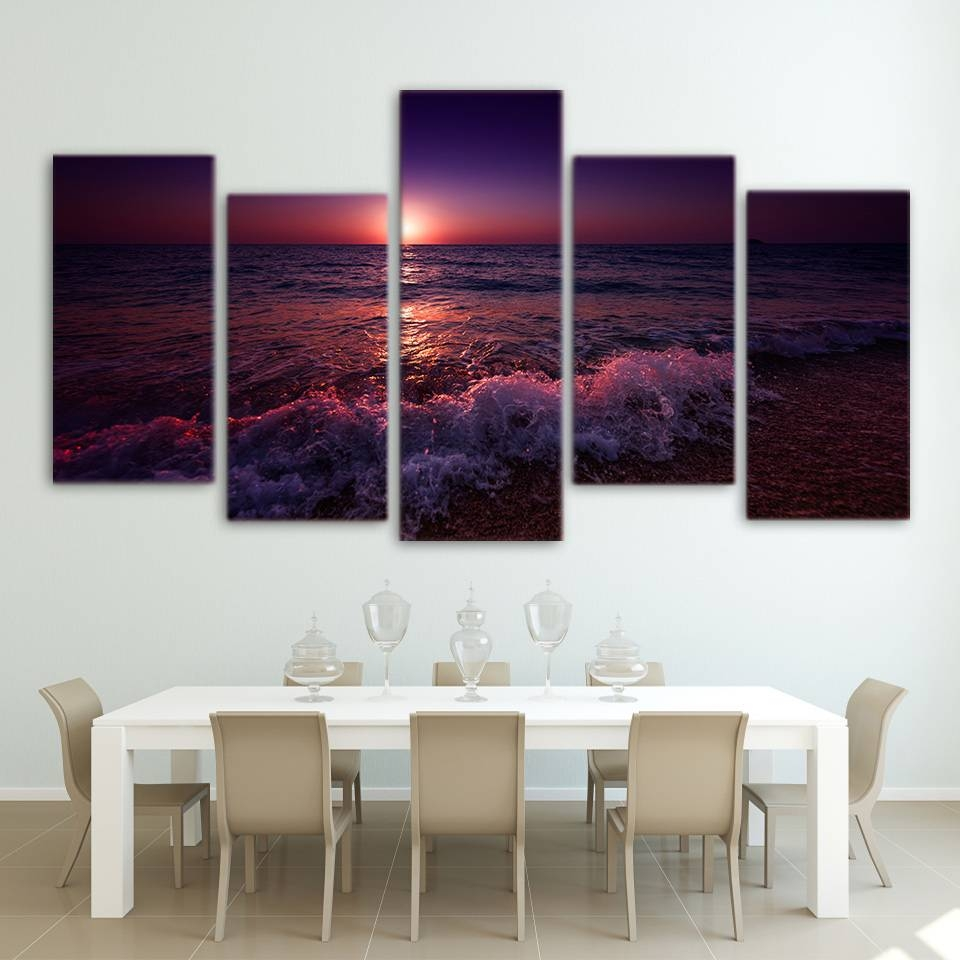 Hd Greece Purple Ionian Sea Nature 5 Piece Canvas Wall Art Print Within Latest Purple Canvas Wall Art (View 13 of 20)