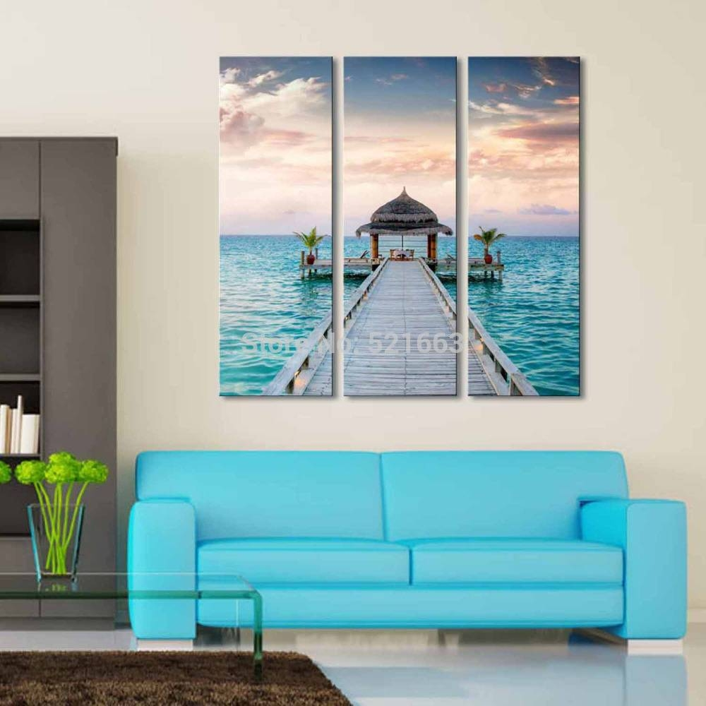 Hd Landscape Canvas Art Print Painting Poster, Print Wall Pictures With Regard To Current Beach Cottage Wall Art (View 13 of 25)