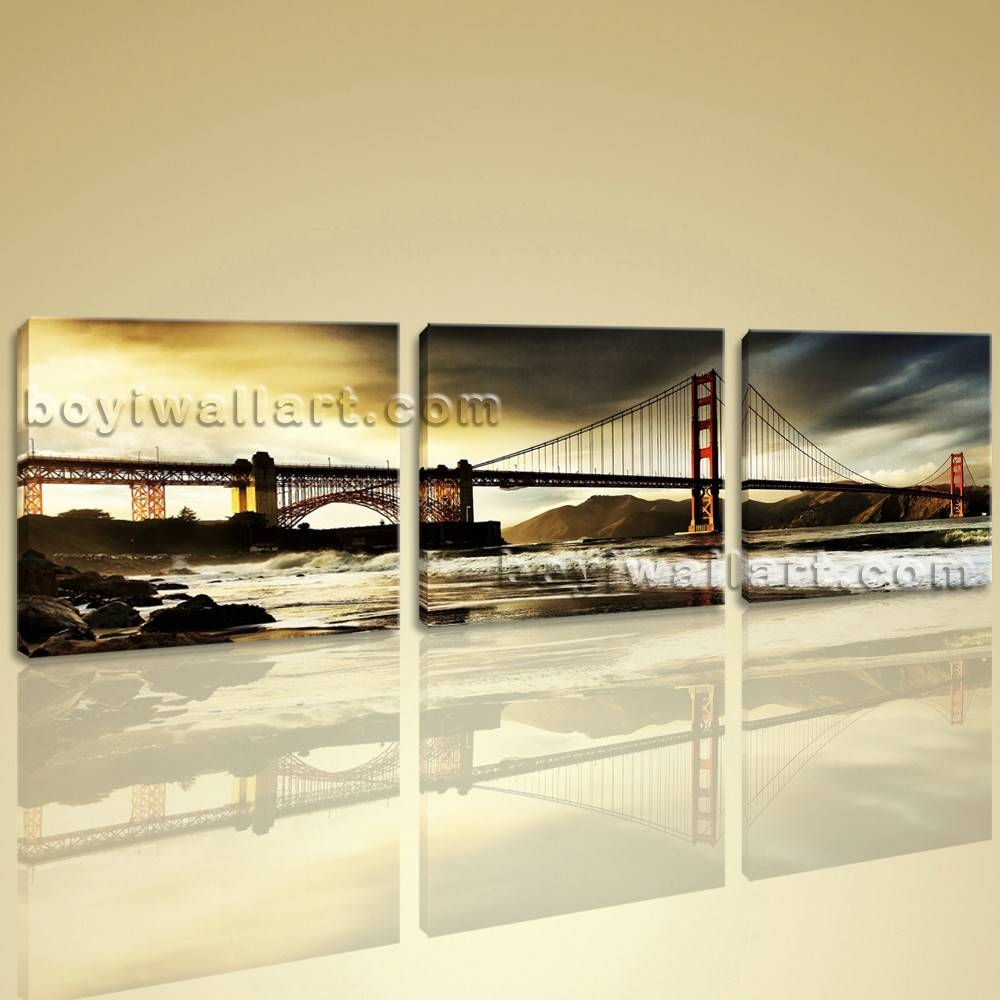 Hd Landscape Picture Print On Canvas 3 Piece Wall Art San Inside Newest 3 Piece Wall Art (View 15 of 30)