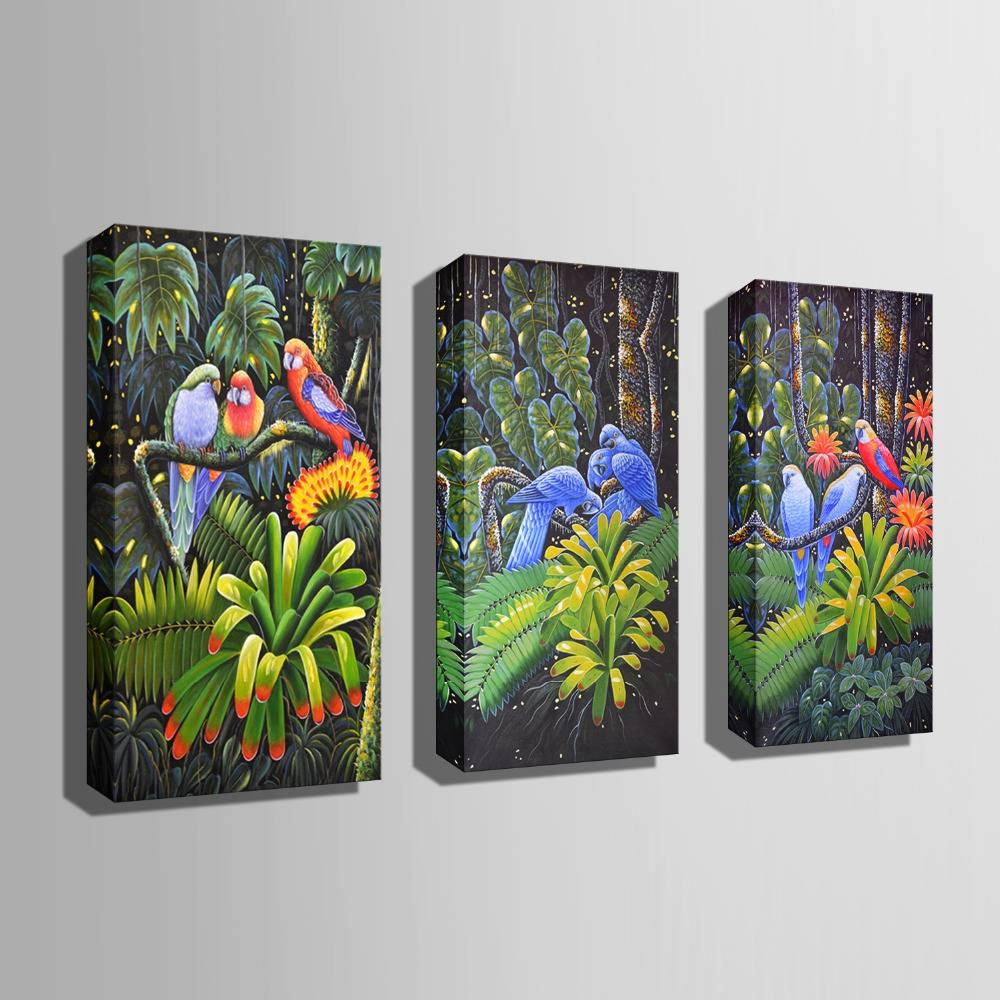 Hd Oil Painting Jungle Parrot Decoration Painting Home Decor On Throughout Latest Jungle Canvas Wall Art (View 14 of 20)