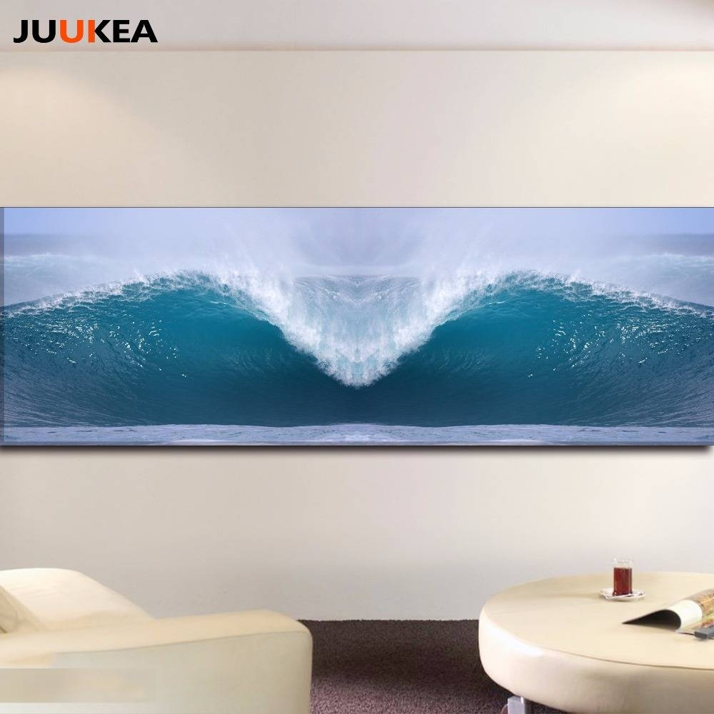 Hd Photography Art Sea Wave Surf Landscape Canvas Art Print Pertaining To Recent Horizontal Canvas Wall Art (View 11 of 20)
