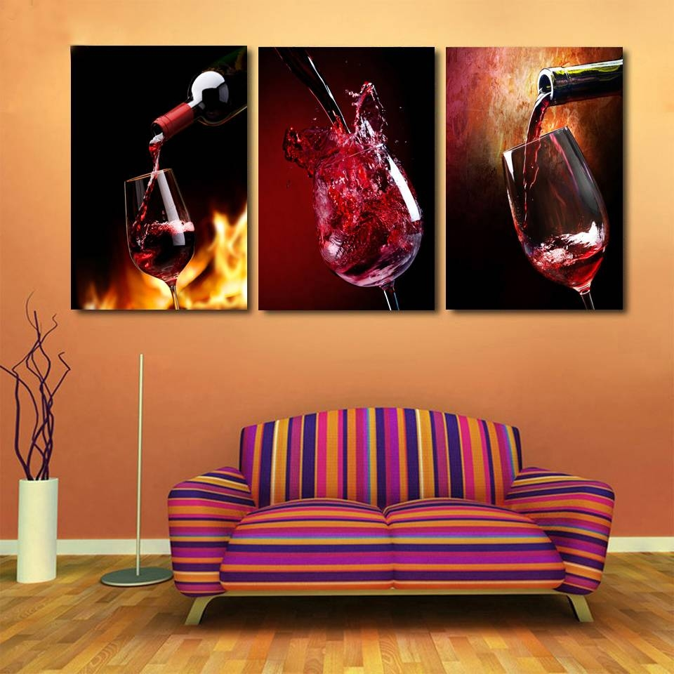 Hd Printed 3 Piece Canvas Vineyard Vines Red Wine Glass Living In Recent Vineyard Wall Art (View 4 of 20)