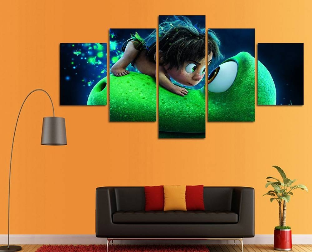 Hd Printed Cartoon Canvas Painting Cute Dinosaur Wall Art Canvas Intended For Current Dinosaur Canvas Wall Art (View 6 of 15)