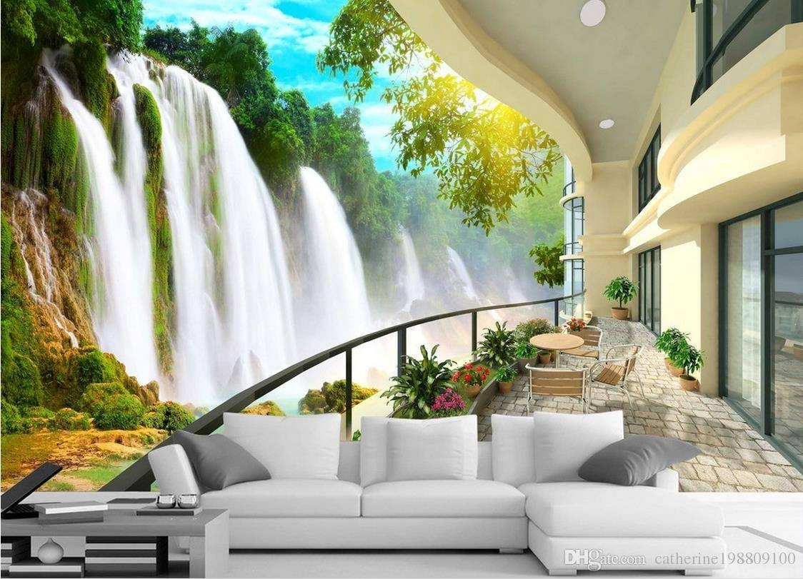 Hd Waterfall Landscape Tv Wall Mural 3d Wallpaper 3d Wall Papers Pertaining To 2017 3d Wall Art Wallpaper (View 2 of 20)