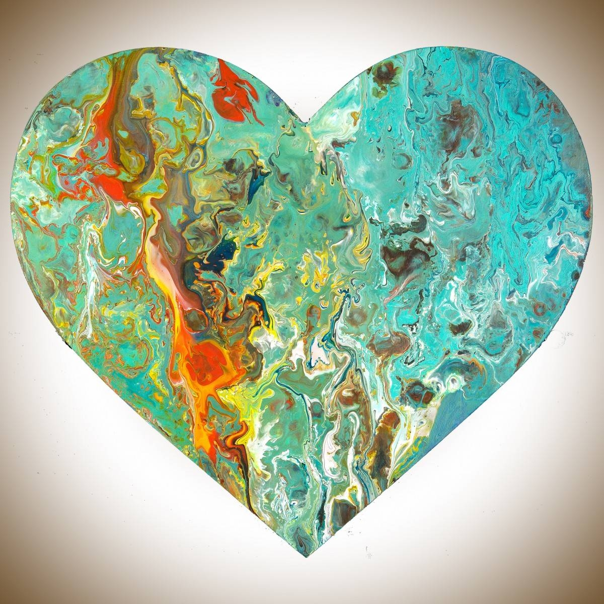 """Heart 8Qiqigallery 9""""x9"""" Heart Shaped Painting Wooden Heart With 2017 Red And Turquoise Wall Art (View 14 of 20)"""