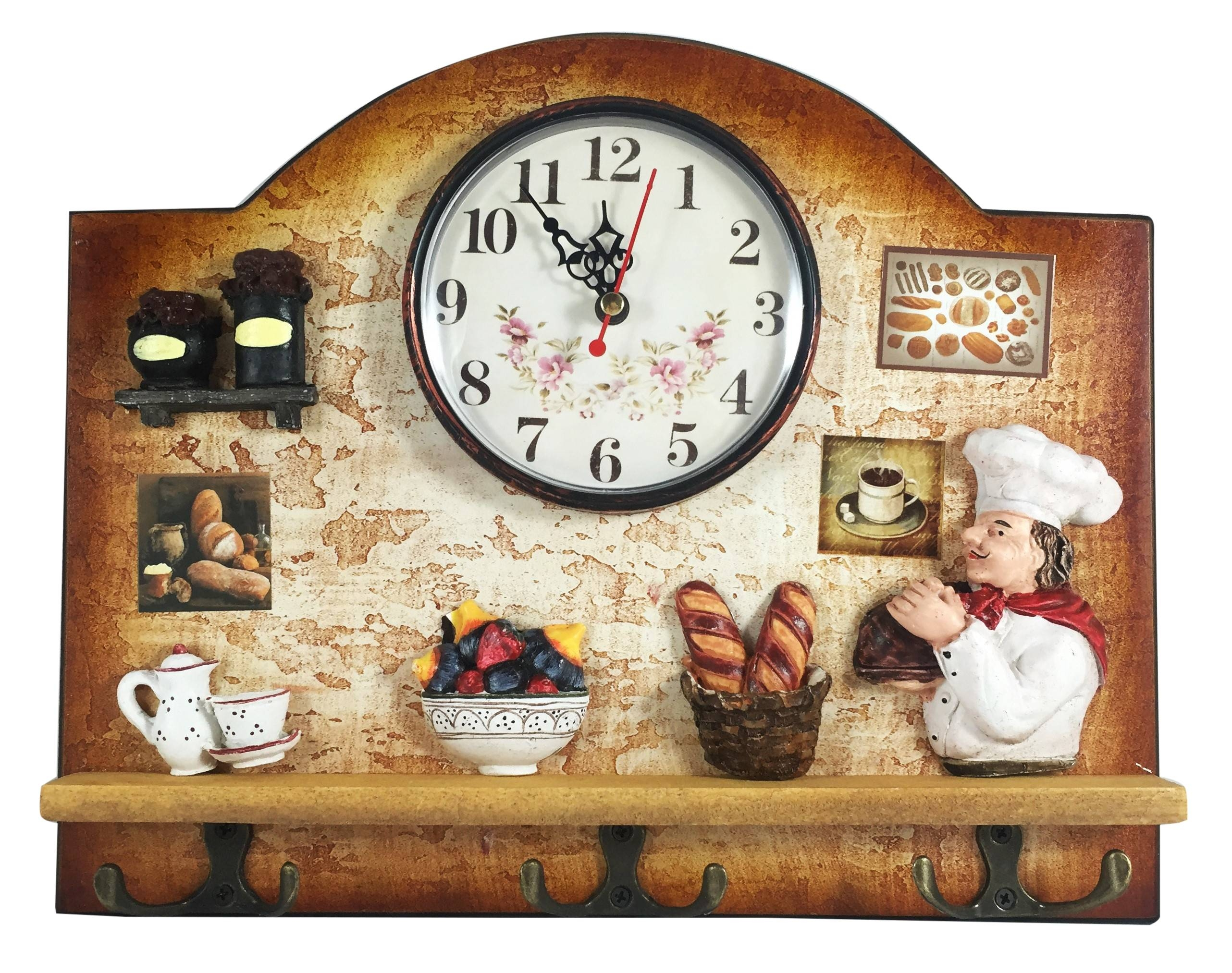 Heartful Home Italian Chef Wall Decor Clock With Key Holder Hooks Inside Best And Newest Italian Ceramic Wall Clock Decors (View 18 of 25)