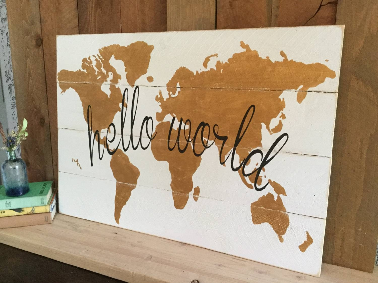 Hello World Map Gold Nursery Wall Art Gold Wood Map Gold Intended For Most Current World Map Wood Wall Art (View 16 of 20)