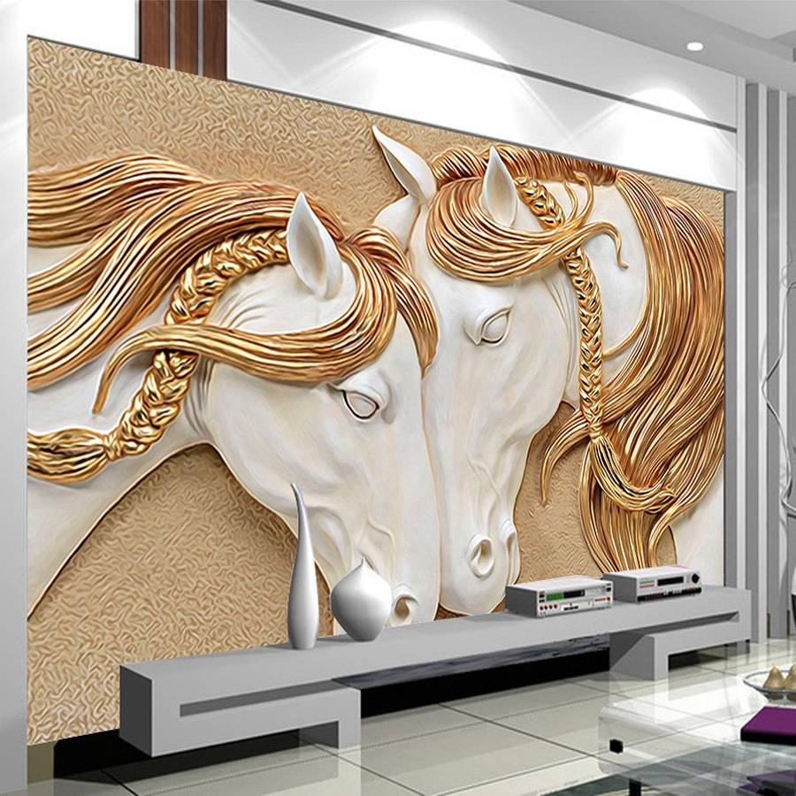 High Quality Custom Photo Wallpaper 3D Stereo Embossed Horse In Current 3D Horse Wall Art (View 16 of 20)